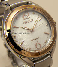 CITIZEN LADY ECO DRIVE TWO TONE SAPPHIRE STAINLESS STEEL BAND 50m FE2074-59A cg