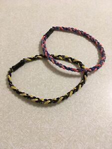 Two Pack sports braided necklaces - orange/blue and yellow/black