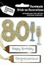 Or 80th anniversaire diy carte de vœux toppers personalise handmade cartes vous-même