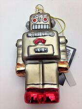 Robert Stanley Blown Glass Christmas Ornament Silver Old Time Robot