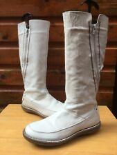 Ladies Cream Leather 6 Boots 40 Flat Knee Zip Aces Beige Designer Blogger Lined