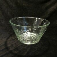 Clear Glass Serving Bowl Embossed Roses and Leaves