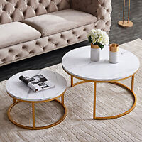 Round Wooden Coffee Table Nesting Tables Modern Living Room Furniture Cocktail