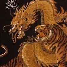 DRAGON AND TIGER  PRINT BANDANA IN BLACK, BROWN MUSTARD IN COTTON AND POLYESTER.