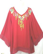 SR Fashion womens Red blouse Tunic Plus size 3X Floral Embroidery Crochet hem