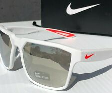 NEW* Nike BANDIT R Matte White SILVER Mirror Chrome Sunglass EV0949 106