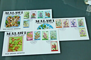 MALAWI 1979 ORCHIDS DEFINITIVES - SET OF 15 ON 3 ILLUSTRATED FIRST DAY COVERS