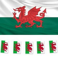 Wales 1 Flag & 2 Bunting Pack Welsh Dragon St Davids Day Rugby National Banner