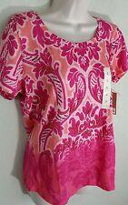 Sonoma Beaded Tee Orange Pink Paisley Short Sleeve Blouse Sz S Small NWT $30