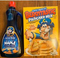 Cap'n Crunch Aunt Jemima Berrytastic Pancake Mix & Ocean Blue Maple Syrup Bundle