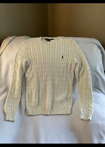 POLO RALPH LAUREN Men's Cable-Knit Cotton Pullover Sweater Used (Nice)