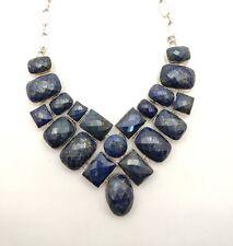 silver overlay Handmade Necklace Natural Lapis Lazuli Checker cut