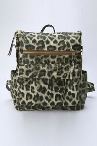 Brown leopard print PU backpack