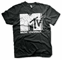 MTV Cracked Logo Official Music Television Channel Mens Black T-shirt