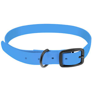 MiMu All Weather Dog Collar, Large - Blue Plastic Dog Collar with Prong Buckle