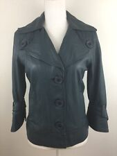 Mike & Chris Women's Blue Green Leather Zip Closure Jacket, Size M