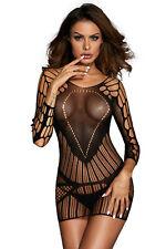 Sexy Black Sheer Seamless Mesh Chemise Stripper Mini Dress Forplay Lingerie S/M