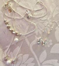 "Butterfly Ball Set🌸Sterling Sil 22""Necklace/7.5/8""bracelet/925 Earings/in a Box"