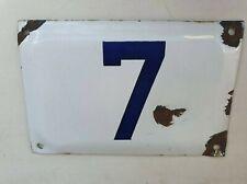Enamel porcelain number 7 street house sign # 7 vintage  ISRAELI