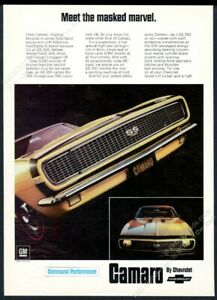 1967 Camaro SS RS 350 yellow car photo Meet the Masked Marvel vintage print ad