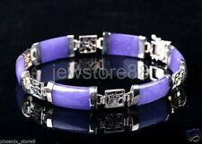 18K White Gold Plated purple jade link Bracelet
