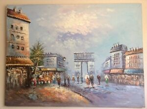 """Street of Paris Oil Painting on Canvas Huge 48""""x36"""" Signed by the Artist Burnett"""