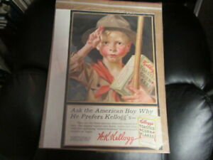 Kellogg's Toasted Corn Flakes Boy Scout Ad 1917  Approx. 9 by 14     Cov