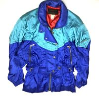 Descente Womens 8 Ski Jacket Coat Vintage 80s RARE Bright Retro Warm HTF Jacket