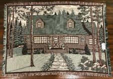 Rustic Log Cabin Lodge Mountain Retreat Cotton Woven Afghan Throw Blanket New