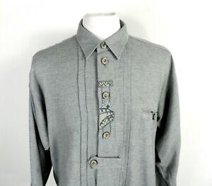 1970s Grey Flannel Cotton Trachten Folk Shirt by Imperial Landhaus Size L / XL