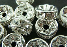 100pcs Wholesale Silver/Gold Plated Crystal Rondelle Spacer Beads 8mm 6mm
