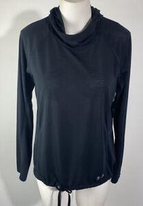 Under Armour Women's Threadborne Top Hoodie Shirt Black Lightweight Drawstring M