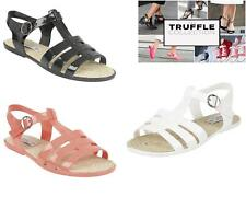 Womens Sandals Black White Pink Flat Jelly Buckle Strap Espadrille Sole Shoe