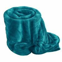 Luxury Teal Colour Soft MINK FAUX FUR BLANKET Throw Bed Sofa Throw Double Size