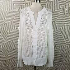 Coldwater Creek Cardigan Sweater Stretch Cotton size 3X 22/24 open knit net