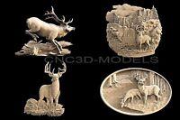 3D STL Models for CNC Router Carving Artcam Aspire Deer Hart Buck 1471
