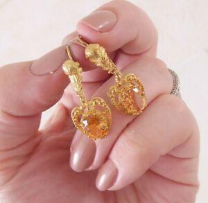 18ct gold old cut citrine heart earrings, Georgian