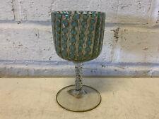 Venetian Murano Italian Art Glass Small Glass Goblet Blue & Gold w Twisted Stem