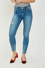 FB Sister Ladies Teenagers Ribbed Super Strechy Skinny Denim Bottom Less Jeans