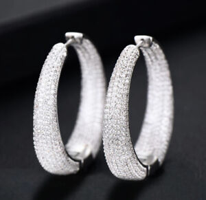 18k White Gold GP Big Hoop Earrings Created Diamond Pave Stone Designer Inspired