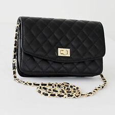 New Black Cute Real Leather Gold Chain Quilted Shoulder Crossbody Messenger Bag