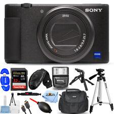 Sony ZV-1 20.1MP/4K Compact Vlog Digital Camera (Black) + 32GB + Flash Bundle