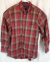 "Pendleton Red Tan Plaid Mens Large Long Sleeve Button Down ""Metro Shirt"""