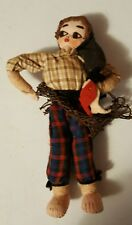 """Vintage 6"""" Cloth Rag Doll Handpainted Face 1950s Fishing Girl"""