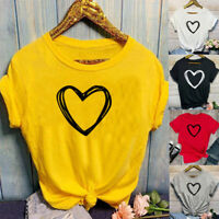 Women's Short Sleeve T-Shirt Heart Print Fashion Casual O-Neck Tops Blouse