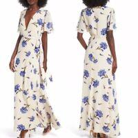 NWT Privacy Please Plaza Kimono Dress in Creme Size Small Floral Wrap Maxi $238