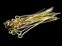 200 Pcs - 35mm Gold Plated Eye Pins Jewellery Beads Findings Craft Beading D172