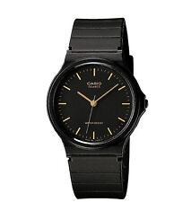 MQ24-1E - Casio, классические аналоговые часы, черный каучук ремешок, водостойкий