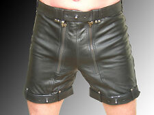 Gay cuero shorts carpintero Lederhose Lederhose bondagehose ZIP atrás nuevo