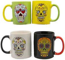 Day of The Dead Set of 4 Coffee Cups Mugs Dia De Los Muertos Sugar Skull Mexico